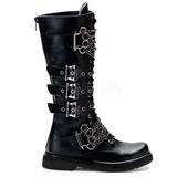 Zwart Kunstleer DEFIANT-402 Laarzen met Gespen Mannen