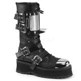 Zwart Kunstleer GRAVEDIGGER-250 Laarzen met Gespen Mannen
