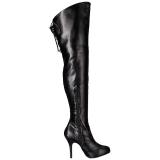Zwart Kunstleer Wijde schacht 12,5 cm EVE-312 brede schacht overknee laarzen