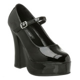 Zwart Lak 13 cm DOLLY-50 Mary Jane Plateaupumps