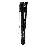 Zwart Lak 13 cm ELECTRA-3050 Over de Knielaarzen Hoge Hak