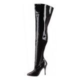 Zwart Lak 13 cm SEDUCE-3010 Overknee Laarzen voor Heren