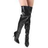 Zwart Lak 13 cm SEDUCE-3010 overknee laarzen met hakken