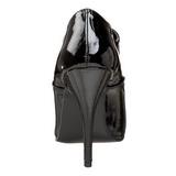 Zwart Lak 13 cm SEDUCE-460 Oxford Pumps Schoenen Plat