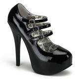 Zwart Lak 14,5 cm Burlesque TEEZE-05 damesschoenen met hoge hak