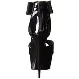 Zwart Lak 15 cm Pleaser DELIGHT-670-3 Plateau Hoge Hakken