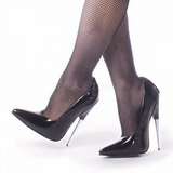 Zwart Lak 15 cm SCREAM-01 Dames Pumps met Stiletto Hak