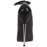 Zwart Lak 16 cm DAGGER-12 Dames Pumps met Stiletto Hak