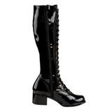 Zwart Lak 5 cm RETRO-302 Dames Rijglaarzen Hoge Hakken