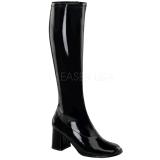 Zwart Lak 7,5 cm Funtasma GOGO-300 Dames Laarzen