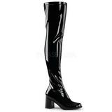 Zwart Lak 8 cm GOGO-3000 Overknee Laarzen voor Heren