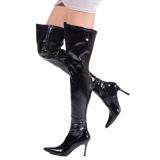 Zwart Lak 9,5 cm LUST-3000 overknee laarzen met hakken