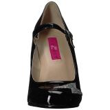 Zwart Lakleer 10 cm QUEEN-02 grote maten pumps schoenen