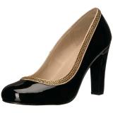 Zwart Lakleer 10 cm QUEEN-04 grote maten pumps schoenen