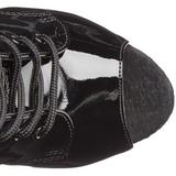 Zwart Lakleer 18 cm ADORE-1021 dames enkellaarsjes met plateauzool
