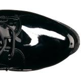 Zwart Lakleer 19 cm TABOO-2023 dames veterlaarzen met hakken extrem