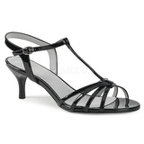Zwart Lakleer 6 cm KITTEN-06 grote maten sandalen dames