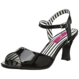 Zwart Lakleer 7,5 cm JENNA-09 grote maten sandalen dames