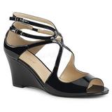 Zwart Lakleer 7,5 cm KIMBERLY-04 grote maten sandalen dames
