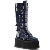 Zwart Lakleer 9 cm DAMNED-318 plateau laarzen dames met gespen