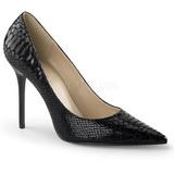 Zwart Leder 10 cm CLASSIQUE-20SP Pumps Schoenen met Naaldhakken