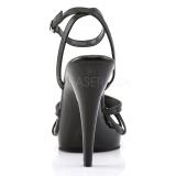 Zwart Leder 12 cm FLAIR-436 Dames Sandalen met Hak