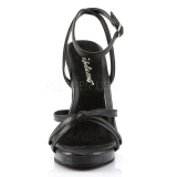 Zwart Leder 12 cm FLAIR-436 Hoge Hakken voor Mannen
