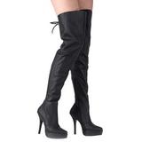 Zwart Leder 13,5 cm INDULGE-3011 Overknee Laarzen voor Heren