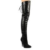Zwart Leder 13 cm LEGEND-8899 overknee laarzen met hakken