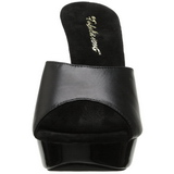Zwart Leder 14 cm COCKTAIL-501L Dames Slippers Hoge Hakken