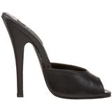 Zwart Leder 15 cm DOMINA-101 Hoge Dames Slippers