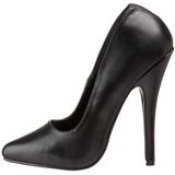 Zwart Leder 15 cm DOMINA-420 Dames Pumps met Stiletto Hak