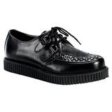 Zwart Leder 2,5 cm CREEPER-602 Plateau Creepers Schoenen Mannen