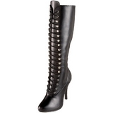 Zwart Mat 12 cm ARENA-2020 Dames Rijglaarzen Hoge Hakken
