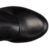 Zwart Mat 15,5 cm DELIGHT-3000 Over de Knielaarzen Hoge Hak