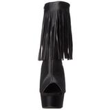 Zwart Mat 15 cm DELIGHT-1019 dames enkellaarsjes met franjes