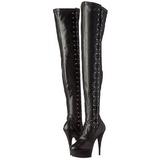 Zwart Mat 15 cm DELIGHT-3050 overknee laarzen met plateauzool