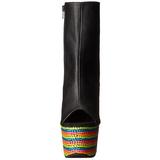 Zwart Mat 18 cm ADORE-1018RBS Neon Plateau Enkellaarsjes