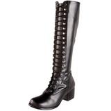 Zwart Mat 5 cm RETRO-302 Dames Rijglaarzen Hoge Hakken