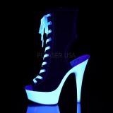Zwart Neon 15 cm DELIGHT-1016SK canvas sneakers met hoge hakken