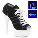 Zwart Neon 15 cm DELIGHT-600SK-01 canvas sneakers met hoge hakken