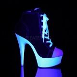 Zwart Neon 15 cm DELIGHT-600SK-02 canvas sneakers met hoge hakken