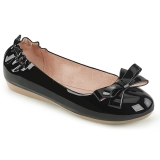 Zwart OLIVE-03 ballerinas platte damesschoenen met vlinderdas