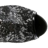 Zwart Pailletten 15 cm PLEASER BLONDIE-R-3011 Plateau Cuissardes Laarzen