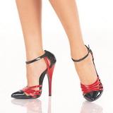 Zwart Rood 15 cm DOMINA-412 damesschoenen met hoge hak
