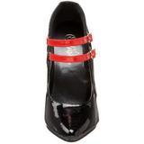 Zwart Rood 15 cm DOMINA-442 damesschoenen met hoge hak