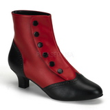 Zwart Rood 5 cm FLORA-1023 Dames Enkellaarzen