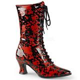 Zwart Rood 7 cm VICTORIAN-120BL Dames enkellaarsjes met veters