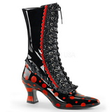 Zwart Rood 7 cm VICTORIAN-122 Dames enkellaarsjes met veters