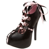 Zwart Roze 14,5 cm TEEZE-13 damesschoenen met hoge hak